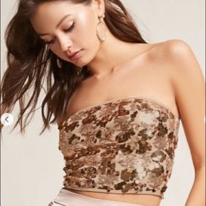 Sequin Cropped Tube Top